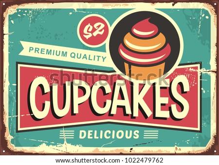 delicious cupcakes retro sign...