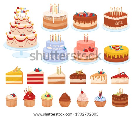 Delicious desserts, pastries, cupcakes, birthday cakes with celebration candles and chocolate slices. Set of colorful cartoon vector illustrations isolated on white background