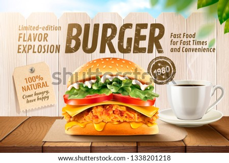 Delicious fried chicken burger ads with coffee on wooden table and white fence in 3d illustration