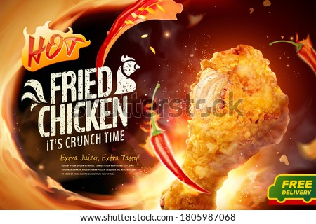 Delicious fried chicken in 3d illustration with fire and chili, concept of spicy flavor