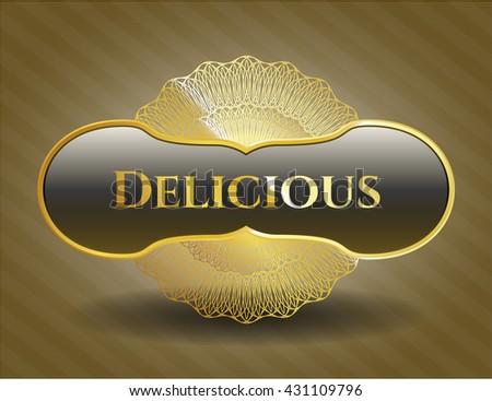 Delicious golden emblem or badge
