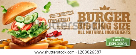 Delicious hamburger and fries banner ads on kraft paper background in 3d illustration