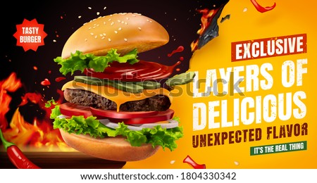 Delicious homemade burger with chili and BBQ grill fire, food ad banner in 3d illustration