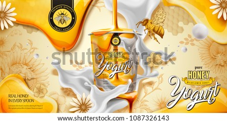 Delicious honey yogurt ad with ingredient dripping down from top in 3d illustration, engraving style background