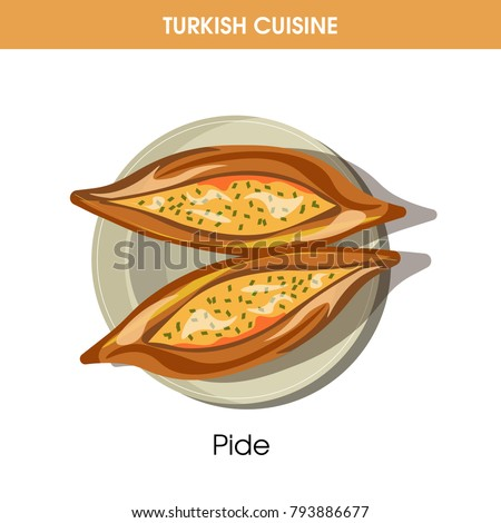 Delicious Pide on plate from traditional Turkish cuisine