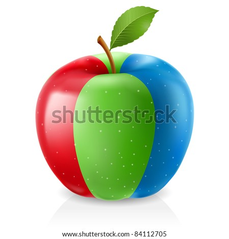 Delicious RGB apple. Illustration on white background