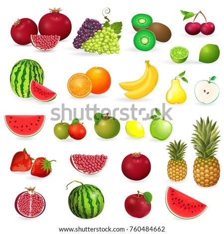 delicious set of fresh fruits