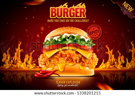 Delicious spicy fried chicken burger ads with burning fire in 3d illustration