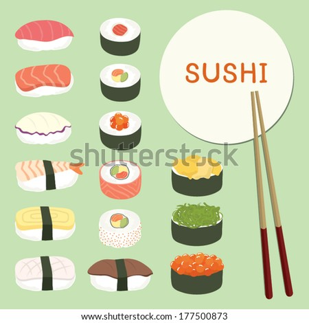 delicious sushi set  food icons