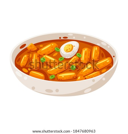 Delicious Tteokbokki / Korean Spicy Rice Cake with boiled egg vector illustration