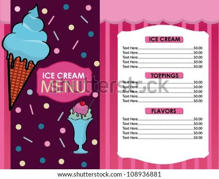 Ice Cream Menu Design Delicious vector ice cream