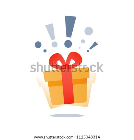 Delight present, surprise yellow gift box, birthday celebration, special give away package, loyalty program reward, wonder gift with exclamation mark, vector icon, flat illustration