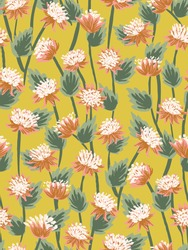 Delightful Astrantia blooms seamless vector pattern. Pretty hand painted flowers in joyous palette. Peach, white, greens on yellow. Great for home décor, fabric, wallpaper, stationery, design projects
