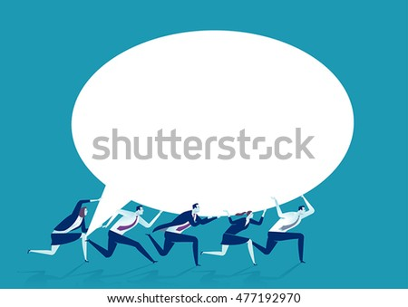 Delivering a message. Group of businessmen carrying the speech bubble. Concept business illustration