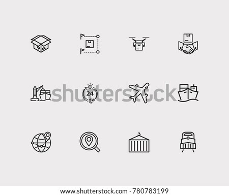 Delivery airplane and carrying icons set with delivery box, delivery ship and delivery location. Set of carrying icons including yacht sign for your web app logo UI design.