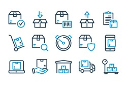 Delivery and Fast Shipping related line icon set. Logistic and distribution vector icons.