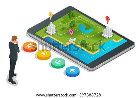 Delivery and logistic network concept. Flat banner of air cargo, trucking. On-time delivery. Vector isometric illustration Vehicles designed to carry large numbers of cargo.