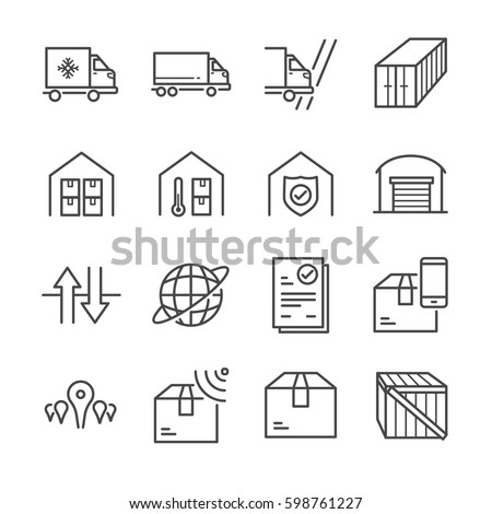 Delivery and logistics line icon set 3