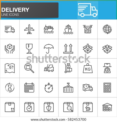 Delivery and logistics line icons set, outline vector symbol collection, linear style pictogram pack. Signs, logo illustration. Set includes icons as shipping, transportation, tracking, parcel, weight