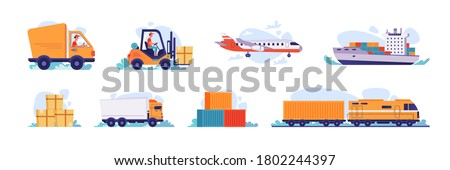 Delivery and logistics transport icons, vector shipping and warehouse flat isolated set. Cargo freight shipment, parcels storehouse logistics and delivery car, airplane, ship and forklift truck loader stock photo