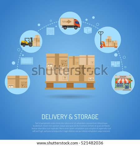 Delivery and storage concept infographics with flat Icons pallet with boxes and delivery process in store vector illustration