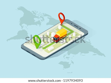 Delivery app isometric illustration. E-commerce. Track service. Truck shipping. Global online navigation. Delivery tracking infographic. Smartphone app, web, banner design. Isolated vector