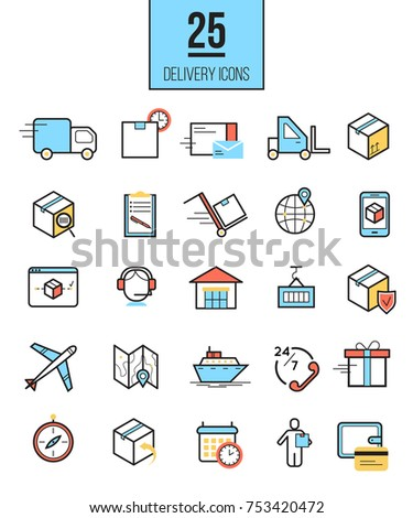 Delivery app modern linear icons set. Vector logistics line style symbols collection.