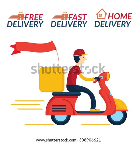 delivery boy ride scooter