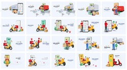 Delivery bundle with people characters, Scooters, Truck, and Smartphone. Online order and couriers delivery at home, global shipping and local distribution, logistics situations. Express delivery