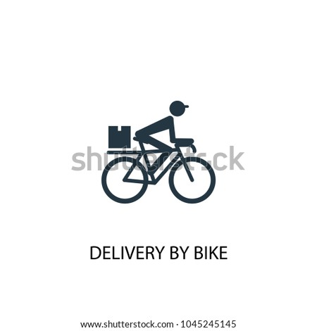 delivery by bike icon. Simple element illustration. delivery by bike concept symbol design from Delivery collection. Can be used for web and mobile.