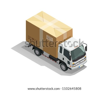 Delivery car. Commercial cargo truck with carton parcel isolated vector illustration