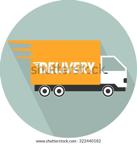 Delivery Car. Single flat color icon. vector illustration.