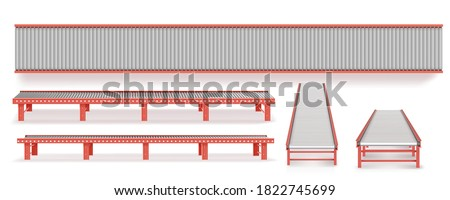 Delivery concept. Empty conveyor line isolated on a white. ストックフォト ©