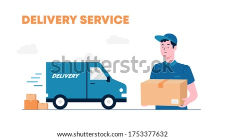 Delivery courier man holding package with delivery truck in background. The Courier Brought The Parcel By Truck. Delivery man and track. Flat design modern vector illustration concept.