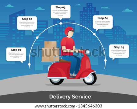Delivery courier ride scooter motorcycle. Delivery characters, Flat design vector illustration. Delivery man ride motorcycle. Delivery service infographic, Worldwide shipping - Vector