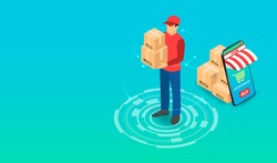 Delivery express by parcel delivery person with Ecommerce system on Smartphone. isometric flat design. Vector illustration