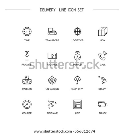 delivery flat icon set set