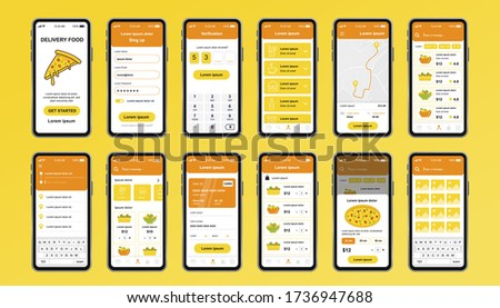 Delivery food unique design kit for app. Online pizzeria screens with food menu, order and payment. Express delivery and catering service UI, UX template set. GUI for responsive mobile application.