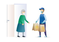 Delivery for an elderly woman. Bags delivery to the door. Courier in white medical mask with grocery and goods bags delivering. Epidemic MERS-CoV virus 2019-nCoV. Vector flat illustration concept.