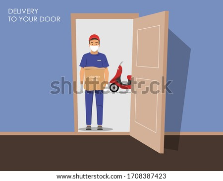 Delivery guy wearing a mask and gloves, handing food package on doorway. Full length man with delivery motorbike in the background. Open doors. Outside the house. Vector illustration.