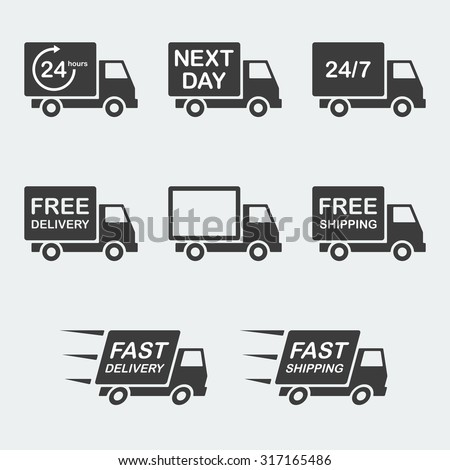 delivery icon set. next day delivery, free delivery and fast delivery, free shipping and fast shipping, 24/7 and 24 hour delivery. vector illustration