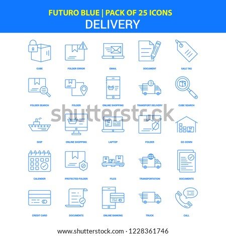Delivery Icons - Futuro Blue 25 Icon pack