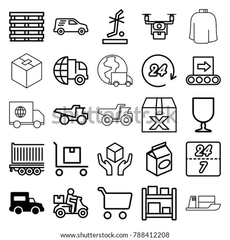 Delivery icons. set of 25 editable outline delivery icons such as truck, take away food, shopping cart, question box, medical drone, cargo box, fragile cargo, handle with care #788412208