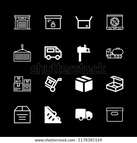 delivery icons set with ecommerce truck for delivery, package box on a cart for transport and sandwich vector set #1178385169