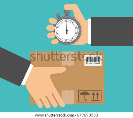 Delivery in time concept. Hand holding a stopwatch and a cardboard package