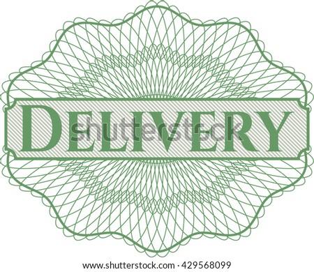 Delivery inside money style emblem or rosette