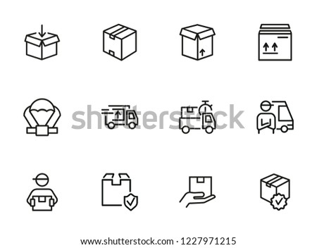 Delivery line icon set. Cargo, box, truck, courier. Delivery service concept. Can be used for topics like shipment, logistics, transportation #1227971215
