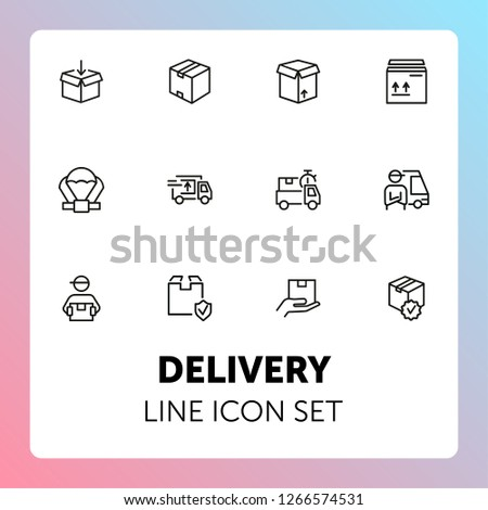 Delivery line icon set. Cargo, box, truck, courier. Delivery service concept. Can be used for topics like shipment, logistics, transportation #1266574531