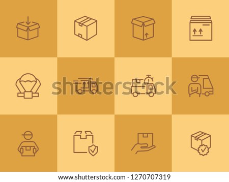 Delivery line icon set. Cargo, box, truck, courier. Delivery service concept. Can be used for topics like shipment, logistics, transportation #1270707319