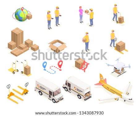 Delivery logistics shipment isometric icons set with isolated images of cardboard boxes and people in uniform vector illustration